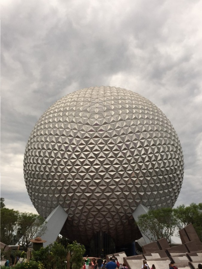 spaceship earth on a cloudy day in epcot