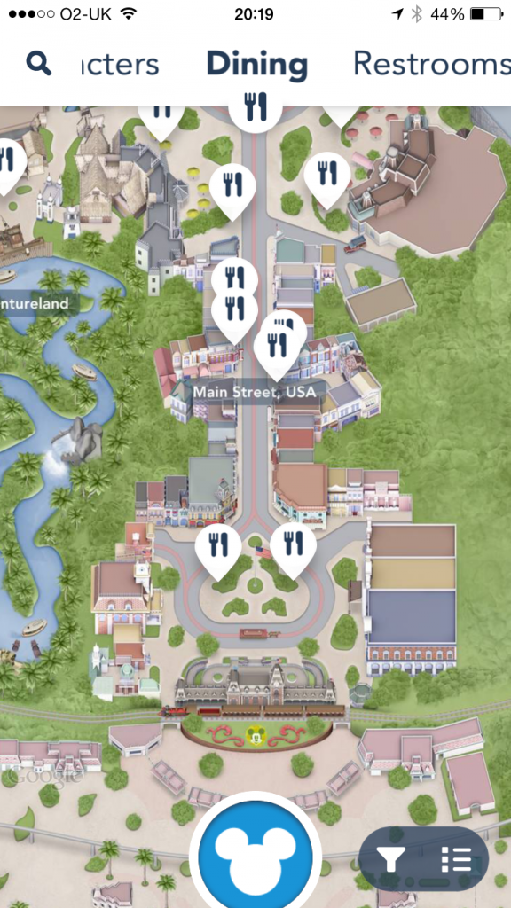 Disneyland app Dining Options