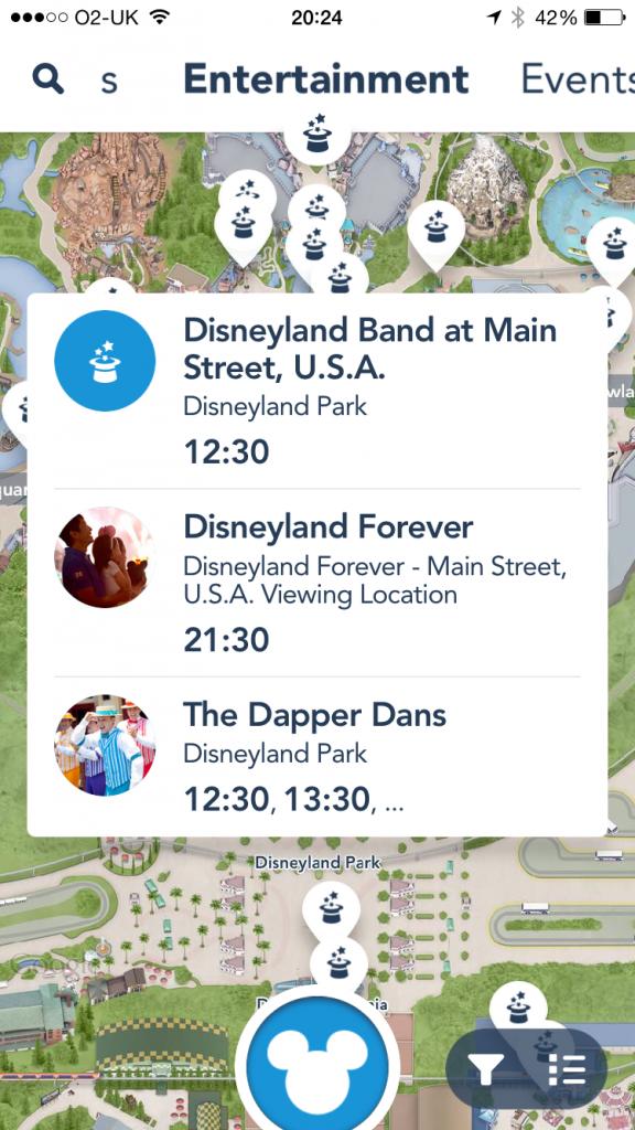 Disneyland app Main Street USA entertainment