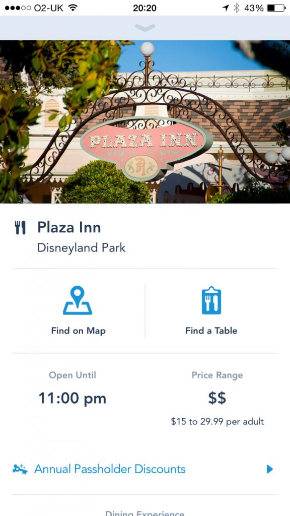 Disneyland App Plaza Inn