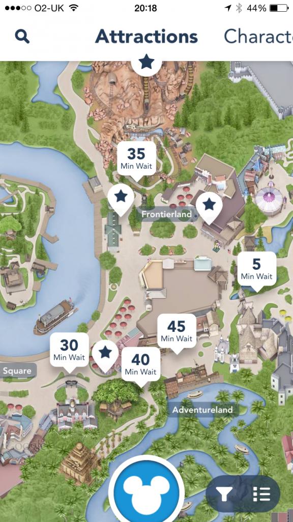 Disneyland App Frontierland wait times
