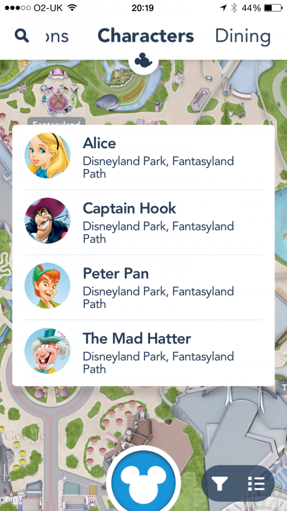 Disneyland App character view including Peter Pan, Captain Hook, The Mad Hatter and Alice