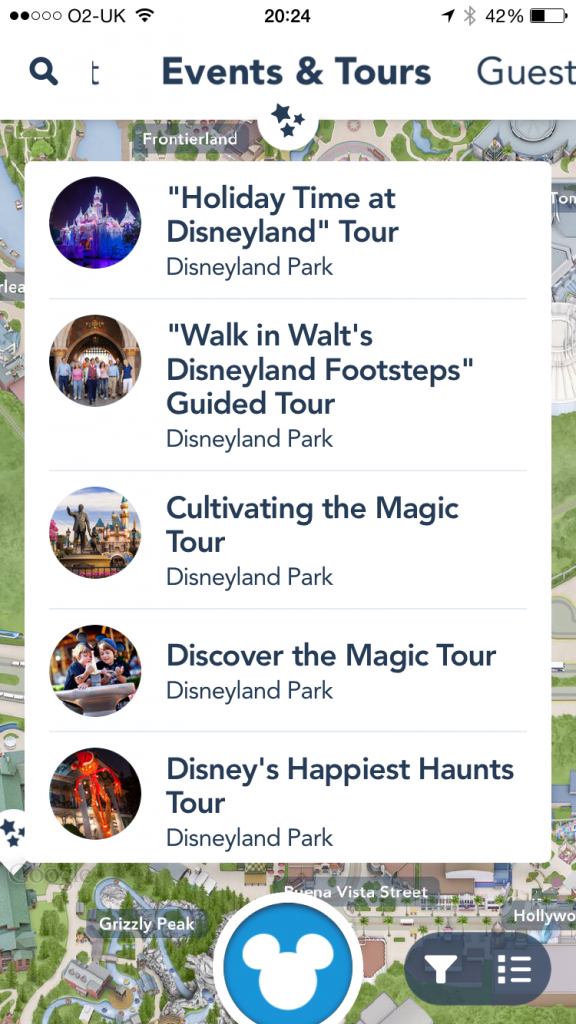 Disneyland app events and tours