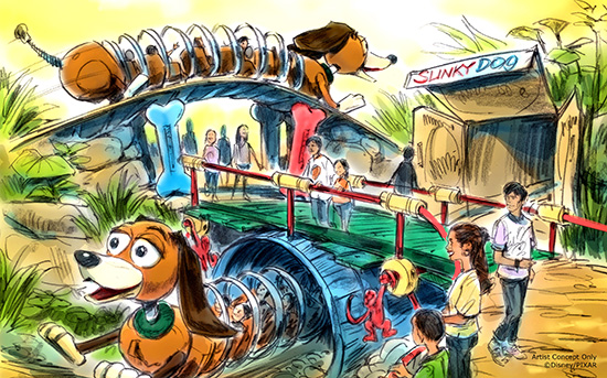 Slinky family friendly rollercoaster Toy Story Land concept art