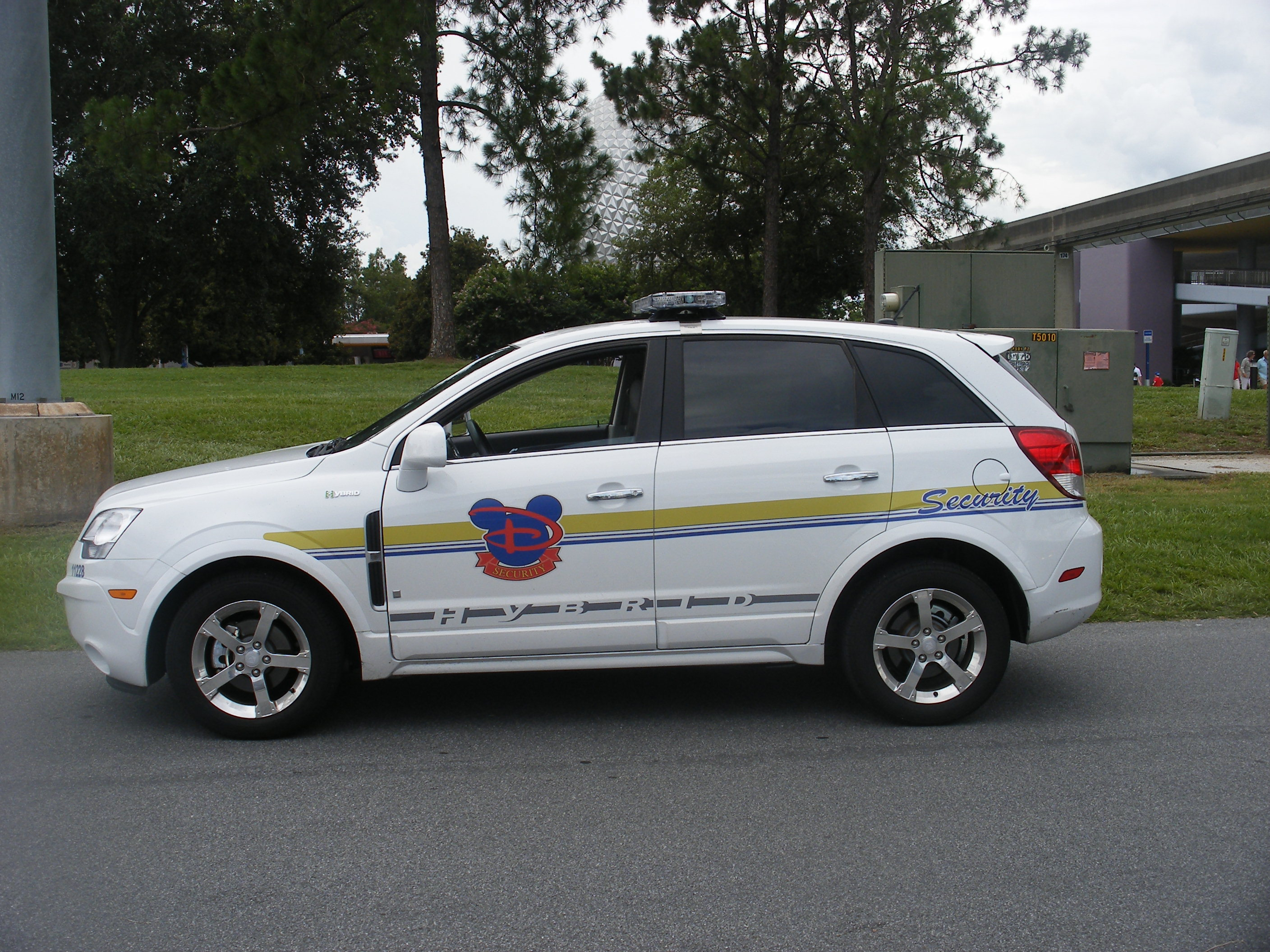 Walt Disney World security car outside of Epcot