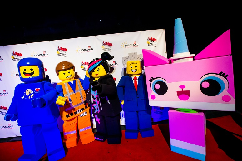 LEGO cast from the LEGO movie at the opening of the LEGO Movie 4d attraction at LEGOLAND Florida