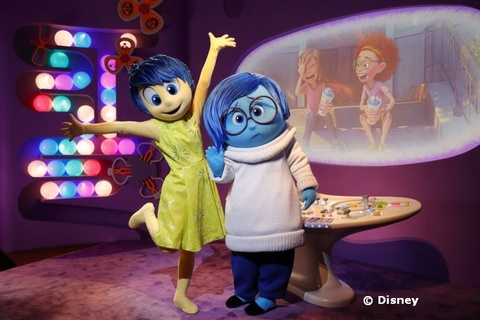 Joy and Sadness from Inside Out at Epcot
