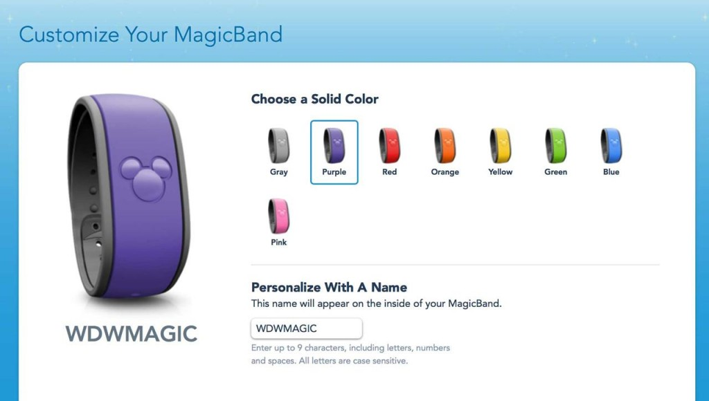 purple MagicBand selected on MyMagic+