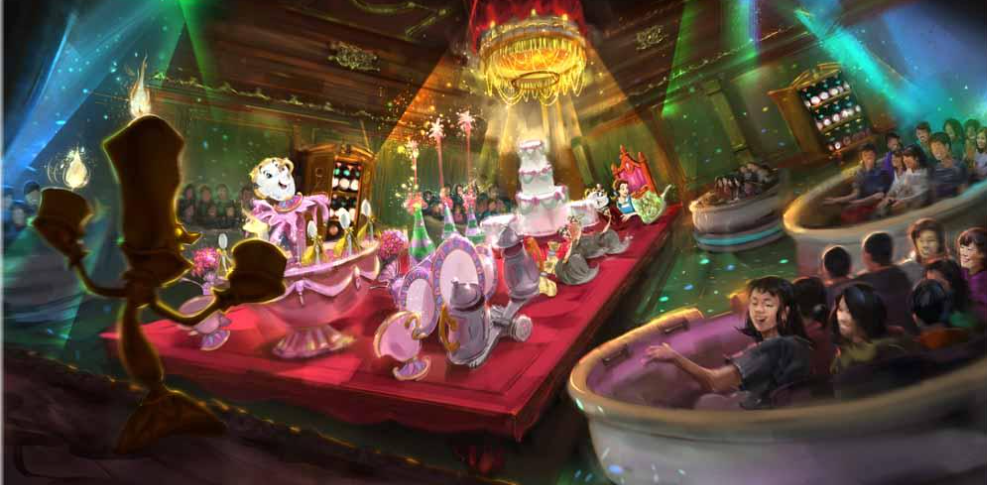 Beauty and the Beast Tokyo Disneyland attraction concept art