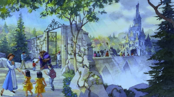 exterior-of-beauty-and-the-beast-attraction-concept-art-tokyo-disney-land
