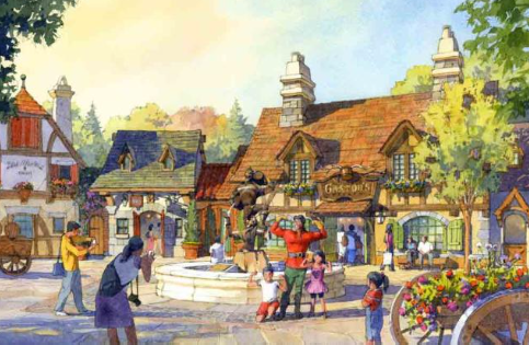 Village at Beauty and the Beast addition at Tokyo Disneyland concept art