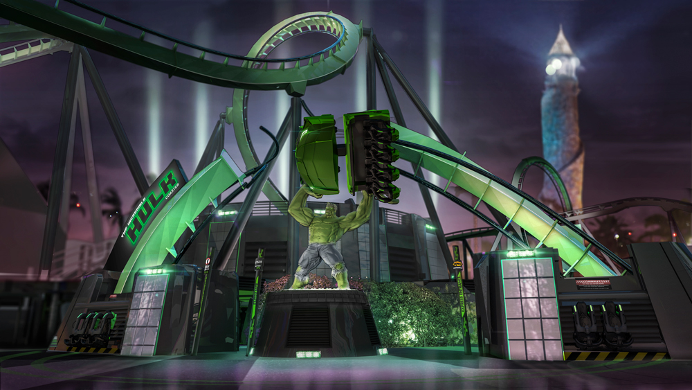Hulk Coaster relaunch concept art of Hulk lifting track pieces