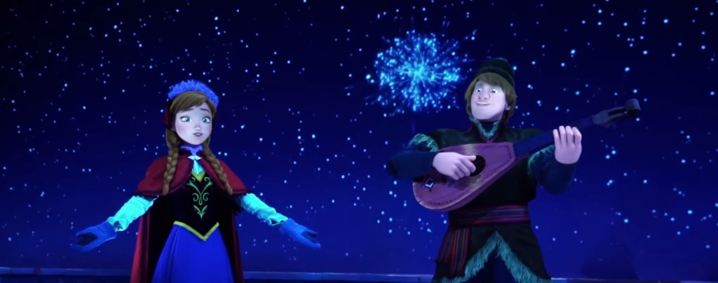 anna and kristoff animatronics on the frozen ever after attraction at epcot