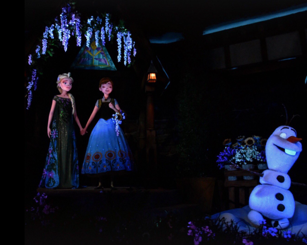 anna elsa and olaf animatonics at the frozen ever after attraction in epcot