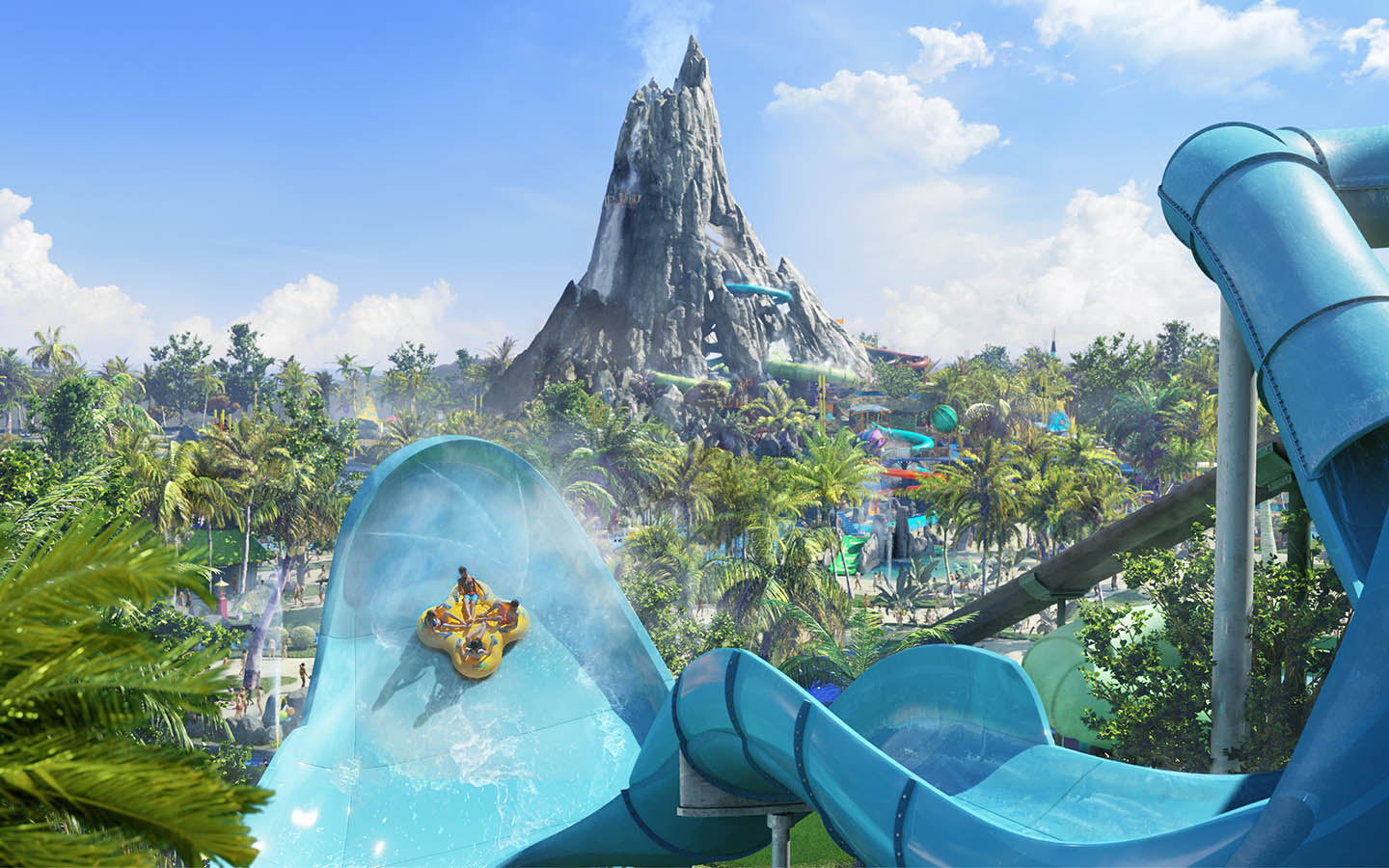 volcano bay water slide with krakatau volcano in the background