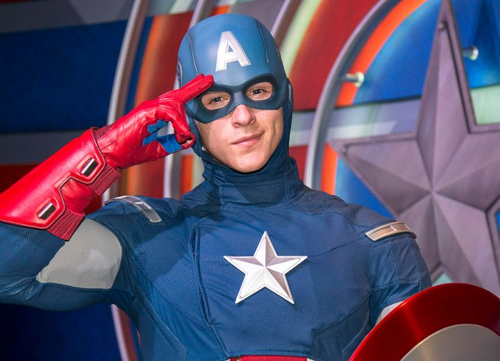 Captain America Speaks to Guest at Disneyland in Sign Language