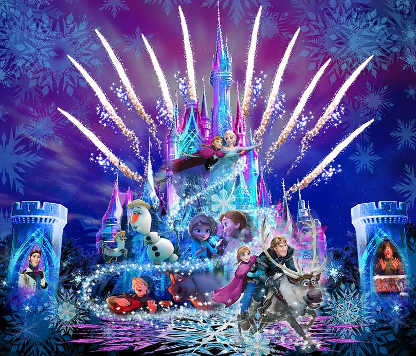 Frozen castle projection show concept art for Tokyo Disney