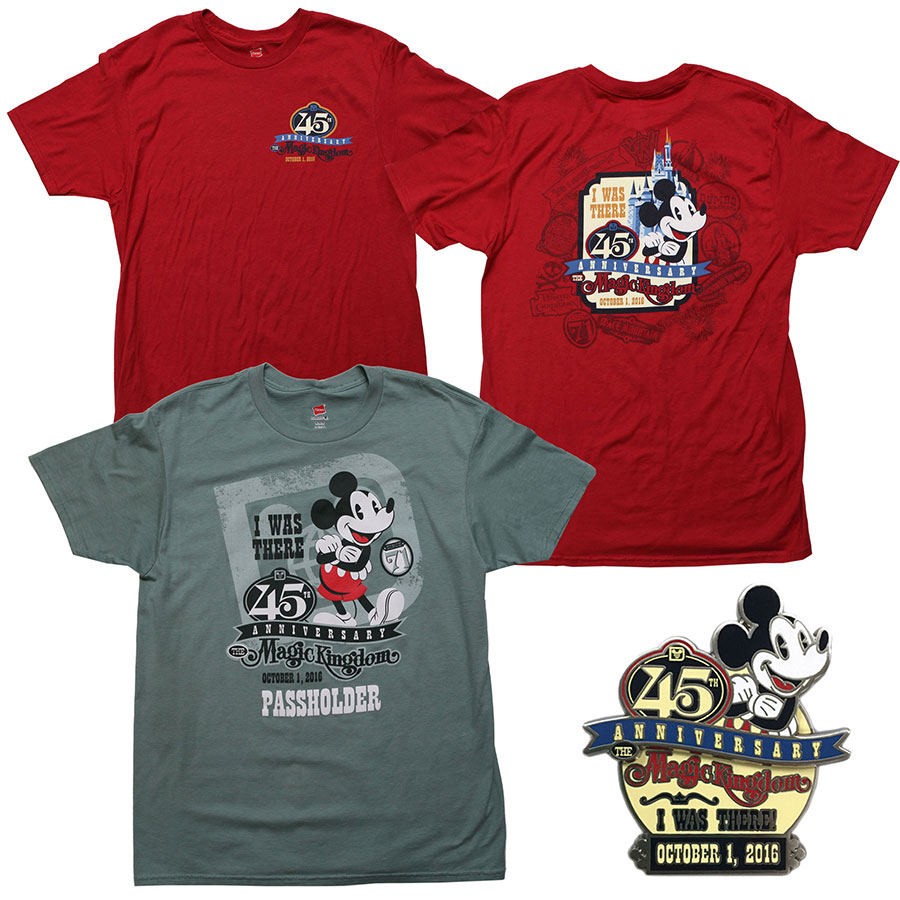 45th Magic Kingdom anniversary pin and t-shirts