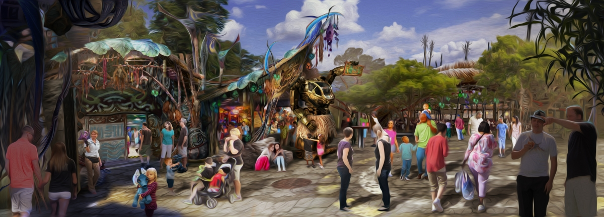 shop exterior concept art at Pandora the world of Avatar