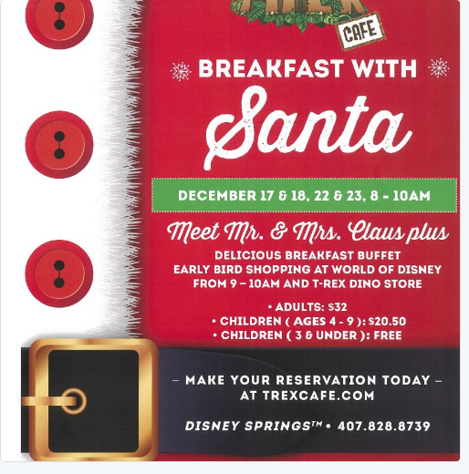 T-Rex Cafe Breakfast with Santa 2016 sign