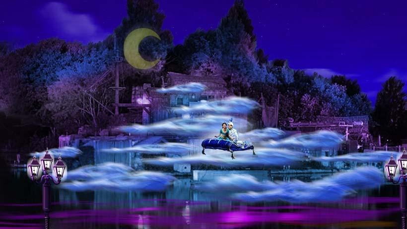 Aladdin and Jasmine new 2017 Fantasmic scene at Disneyland concept art