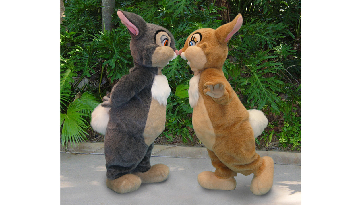Thumper and Miss Bunny at Disney's Animal Kingdom to celebrate Bambi's 75th anniversary